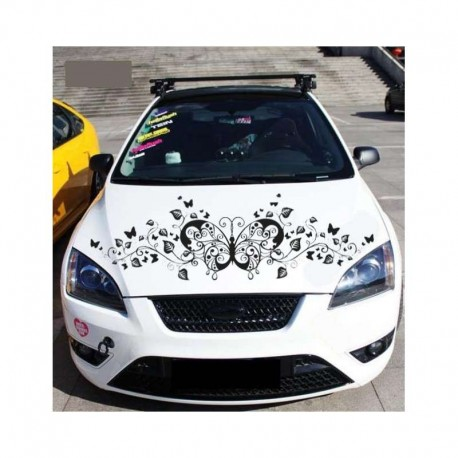 Art butterfly and vines, decorative car sticker.