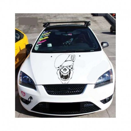 Skull in military cap auto body decoration, car bonnet sticker.