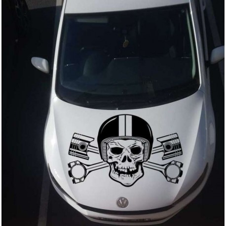 Skull in the helmet car bonnet vinyl sticker.