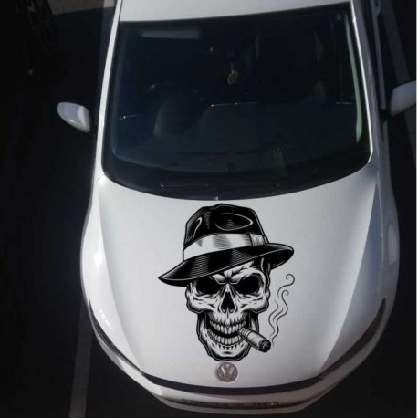 Skull car decal, car bonnet vinyl sticker.