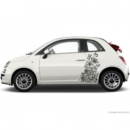2x Flower vinyl car stickers, flower auto decals.