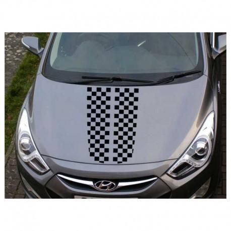 Racing checkered stripes car bonnet sticker.
