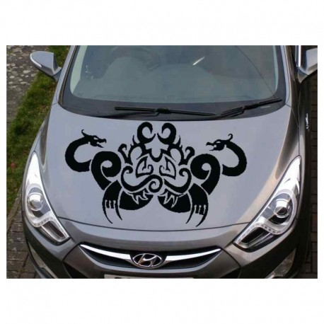 Tribal dragons for auto bonnet sticker.