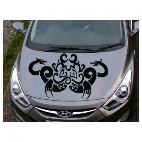 Tribal dragons for auto bonnet sticker.