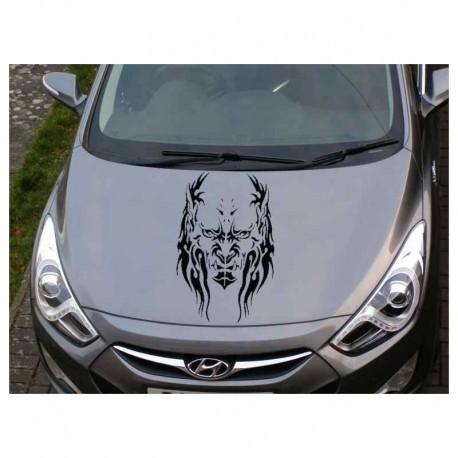 Demon head decorative car bonnet sticker.