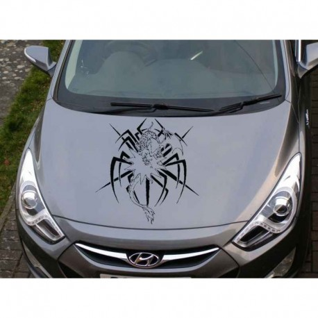 Tribal dragon car bonnet sticker, dragon car hood decal.
