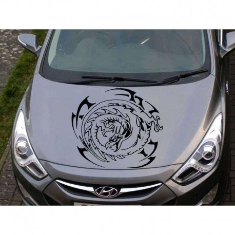Tribal dragon car bonnet sticker, dragon auto decal.