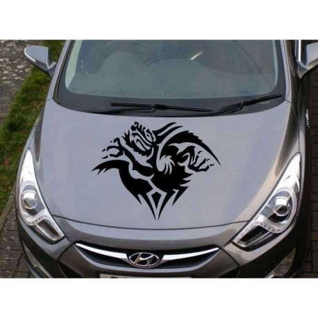 Tribal dragon car bonnet sticker, dragon auto hood decal.