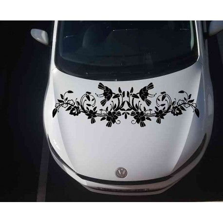 Large flower auto bonnet sticker.