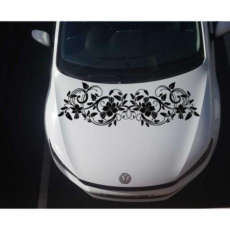 Large flower auto hood sticker.