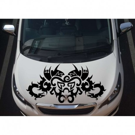Tribal dragon large auto bonnet sticker.