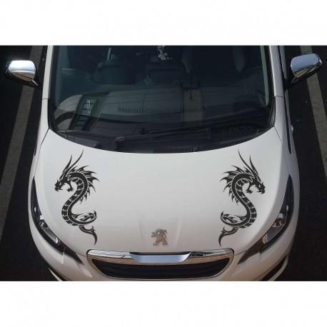 Two tribal dragons car bonnet sticker.