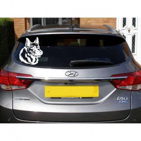 German Shepherd dog head car rear window sticker.