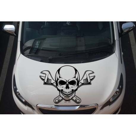 Skull and adjustable wrench car bonnet sticker.