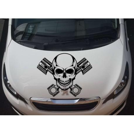 Skull and pistons car bonnet sticker.