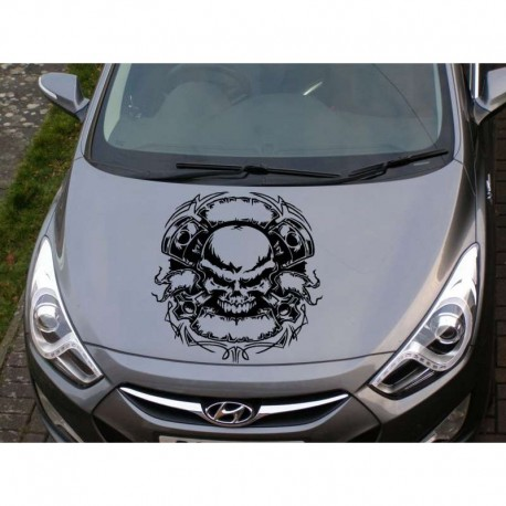 Monster skull as car bonnet sticker.