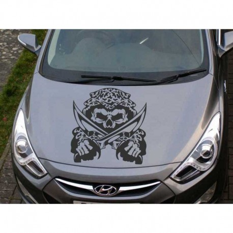 Skull with a blades car bonnet sticker.