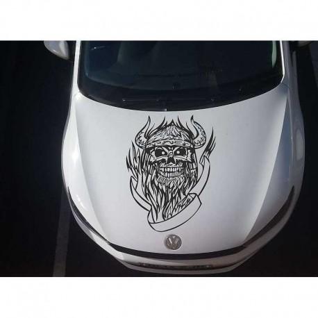 Devil in flames car bonnet sticker.