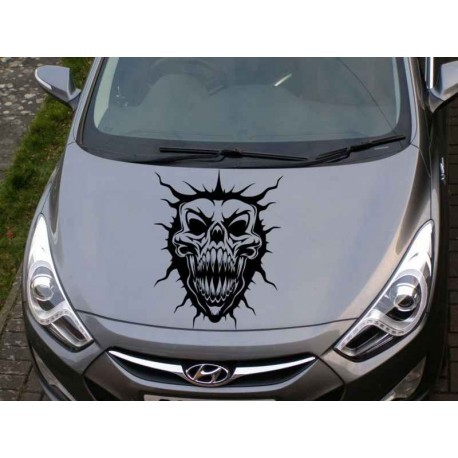 Monster skull as car bonnet decal.