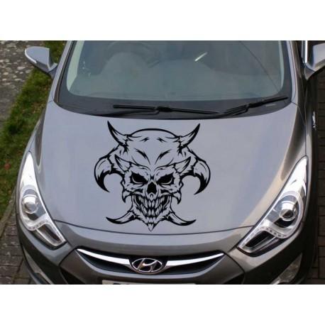 Skull with horns car bonnet sticker.