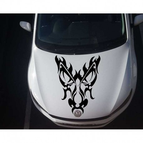 Tribal dragons head car bonnet sticker.
