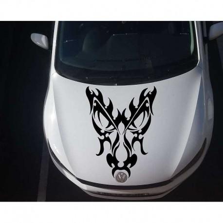 Tribal dragons head car bonnet sticker.