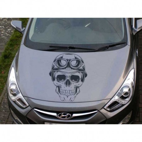 Skull in the helmet car bonnet sticker.