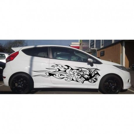 Chinese dragon and flames car doors sticker.