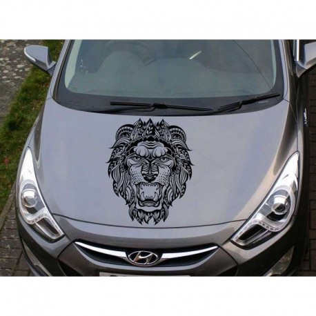 Tribal Lion's head car bonnet sticker.