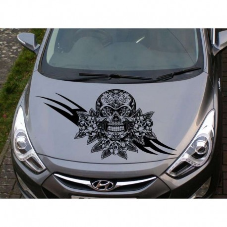 Skull and roses car decorative car bonnet sticker.