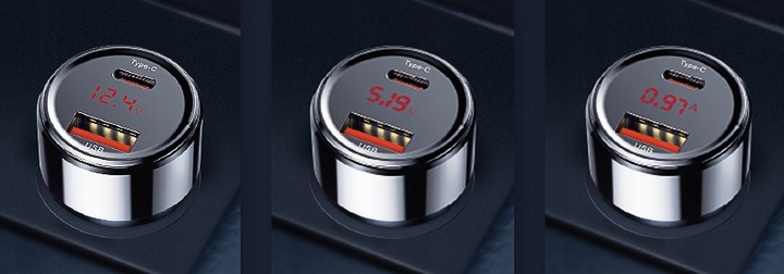 Fast phone charger with LED display.
