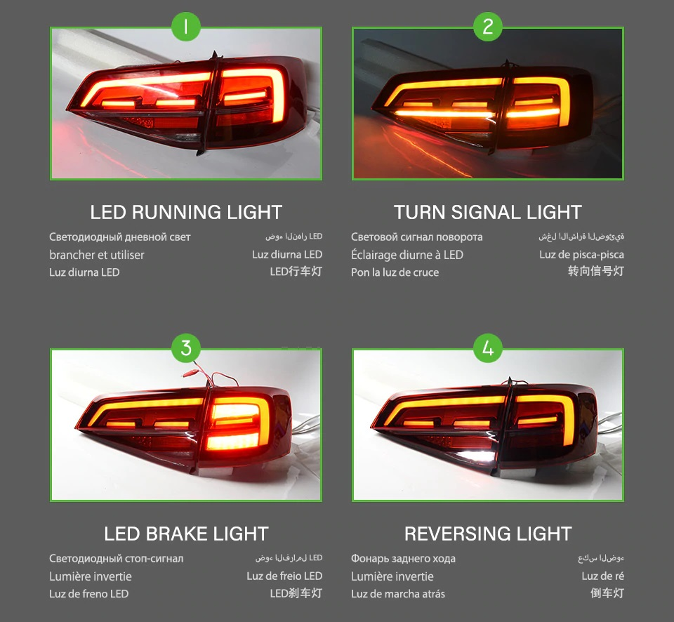 VW Jetta MK6 tail lights 2015-2018 LED dynamic signal.