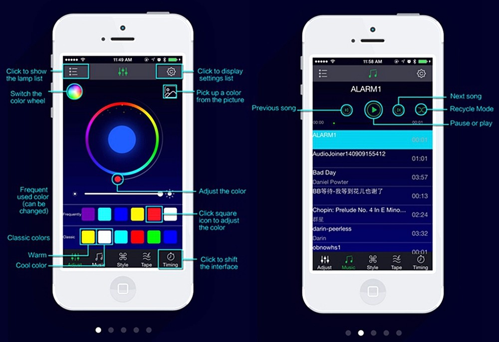 App controlled ambient light.